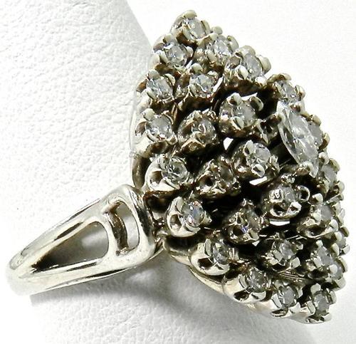 Large Diamond Cluster Vintage Ring In 14kt Gold