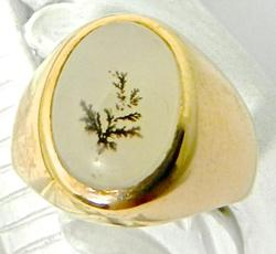 Unusual Moss Agate 14K Rose Gold Ring