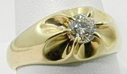 Gents 14kt Gold Diamond Solitaire Ring