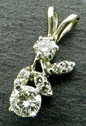 Floral Motif 14K Gold and Diamond Pendant