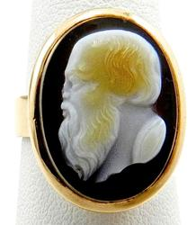 Rose Gold and Carved Agate Vintage Ring