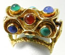 Vintage 18kt Gold Rolling Barrel Ring, Very Cool!