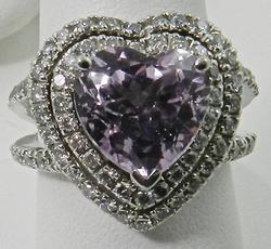 Heart Shaped Kunzite and Diamond Ring