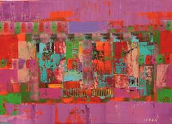 COLORFUL ABSTRACT ORIGINAL BY ALEXANDER LEBAN