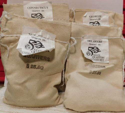 1999-D State Qtr Mint bags, Del/NJ/Ga/Conn, $25. ea bag