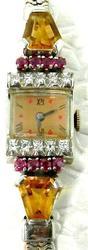 Vintage Art Deco Style Gemstone Watch