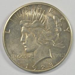 Lovely BU 1928-P Peace Silver Dollar. Rare Key Date