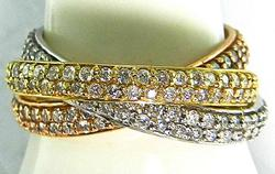 Tri-color Rolling Bands with apprx 2 ctw of Diamonds