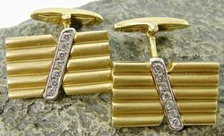 Unique 14K Gold & Diamond Cufflinks