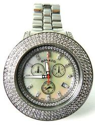 Gents Diamond Large Watch, Steel Band