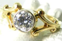 Radiant High Quality Diamond Solitaire Ring, 14kt Gold