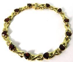 Heart Shaped Beautiful Red Garnet Bracelet, 14kt Gold