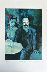 Pablo Picasso Couple At Cafe Table