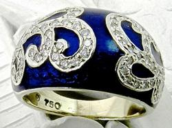 Fancy Designer enamel & diamond ring in 18kt gold