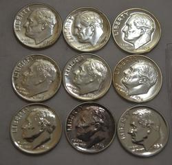 1951-6 and a 1964 Gem Proof Roosevelt Dimes