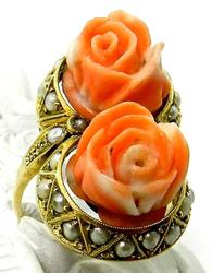 Unique vintage carved coral ring