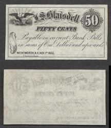 1862 FIFTY CENT J.S. BLAISDELL GEM UNSIGNED REMAINDER