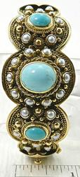 Gorgeous Details Turquoise & Pearl Bangle, 18kt