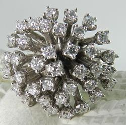 Amazing 18KT Gold Diamond Flower Burst Ring