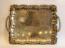 Beautiful Silver Plated Metal Serving Tray