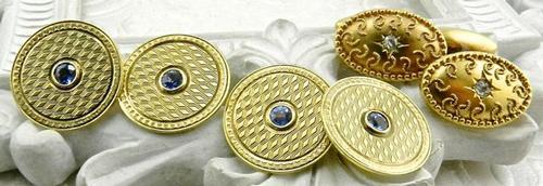 2 Tasteful pairs of vintage gold cufflinks