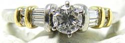 Elegant Platinum & Diamond Ring with 18K Accents