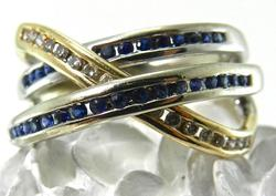 Unusual Sapphire and Diamond Ring in White Gold
