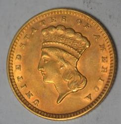 Scarcer US Gold Type 1874 $1 Gold Unc