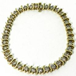Large 9 Carat Diamond Tennis Bracelet in 14KT Gold
