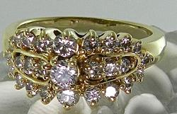 Attractive 1ctw Diamond Cluster Ring, 14kt Gold