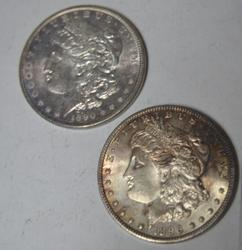 1890 and 1896 Frosty White BU Morgan Silver  Dollars
