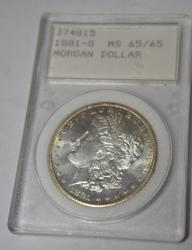 1881 S Morgan in an old Certified MS 65/65 Holder