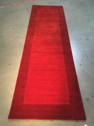 Solid Two Tone Design Hand Made & Carved Wool 9 Ft Runner