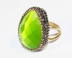 ASTONISHING & FLATTERING LARGE GEMSTONE GOLD PLATED 925 SS RING