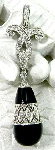 Diamond & Black Onyx Drop Pendant, Vintage