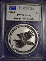 MS70 Australia Mercanti Signed Wedge Tail $1