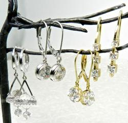 4 Pairs of 14kt Gold & CZ Earrings