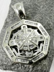 Heavy Unusual Geometric 2 Carat Diamond Pendant