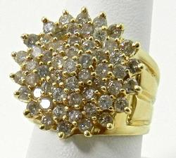 Exceptional 2 Carat Diamond Cluster Ring in 14KT Gold