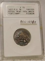 Treasure Coin, 1651-P,E One Reale from Potosi Mint