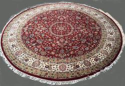 Utterly Elegant Fine Silk Blend Mille Fleur Isfahan Pattern Rug