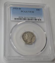 1921 D semi key Mercury Dime in a PCGS VF30 holder