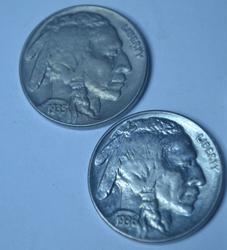 1935 Unc & 1936 Choice BU Buffalo Nickels