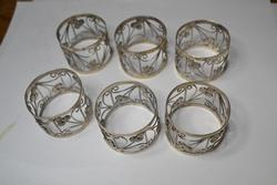 6 Large Silver Napkin Rings With Widows Mite Coins