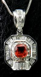 Gorgeous Malaya Garnet and Diamond Pendant
