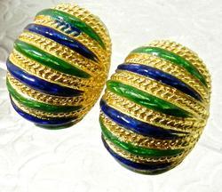 Heavy & Unique 18kt Gold Blue and Green Enamel Earrings