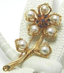Artfully Crafted 14K Flower Pin with Pearls