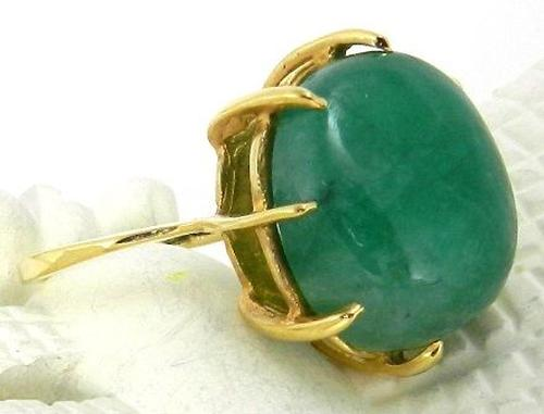 Natural Look Green Stone and Gold Ring