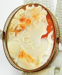 Antique Cameo Of Diana in Gold Bezel