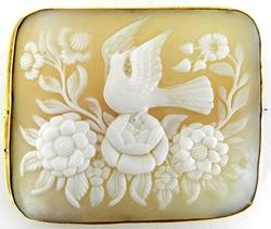 Square Cameo of Birds and Flowers in Gold Bezel